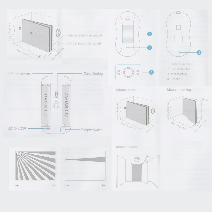 Detector PIR tipo cortina ... Inalámbico ... Apto para Interior